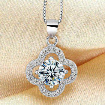 JAMOUR S925 Silver CZ Lucky Clover Fashion Personalized Hypoallergenic Pendants - WHITE / GOLD 1.3 X 0.4 X 2.0CM