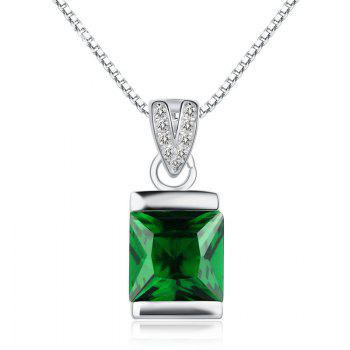 JAMOUR S925 Silver-Encrusted Square Emerald Crystal Personalized Hypoallergenic Pendant Necklace - GREEN GREEN
