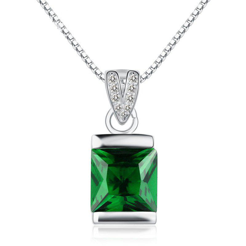 JAMOUR S925 Silver-Encrusted Square Emerald Crystal Personalized Hypoallergenic Pendant Necklace - GREEN 0.8 X 0.6 X 1.7CM