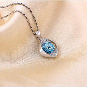 JAMOUR S925 Silver Blue Crystal Simple Wild Lady Hypoallergenic Pendant Necklace - BLUE 1.5 X 0.4 X2.2CM