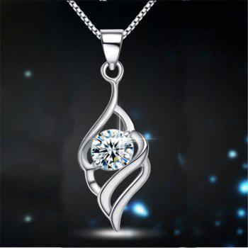 JAMOUR S925 Silver Angel Wings Simple Fashion Personality Hypoallergenic Pendant Necklace - WHITE WHITE