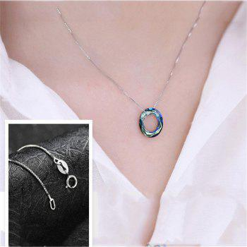 JAMOUR S925 Silver Chain with Austrian Crystal Circle Polygonal Cut Personality Creative Lady Pendant Necklace - COLORFUL 1.4 X 0.4 X 0.2