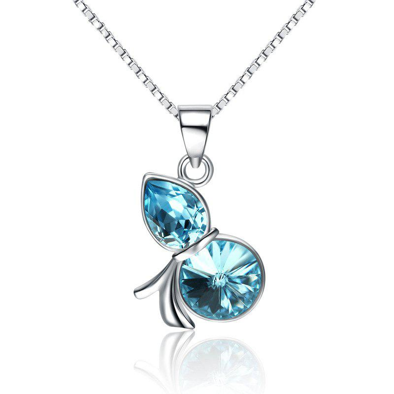 JAMOUR S925 Silver Unique Creative Lady Wild Blue Crystal Hoist Pendant Necklace - BLUE 1.3 X 0.5 X 2.1CM