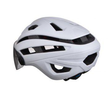 L-002 Bicycle Helmet Bike Cycling Adult Adjustable Unisex Safety with Visor Len -  WHITE