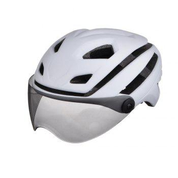 L-002 Bicycle Helmet Bike Cycling Adult Adjustable Unisex Safety with Visor Len - WHITE WHITE