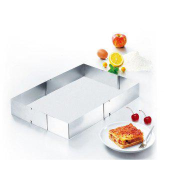 Stainless Steel Extending Rectangular Baking Mold Frame Form with Divider for Layer Cakes Pastries Mousse Desserts Pizza - SILVER
