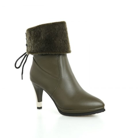 Sharp Pointed High-Heeled Fashion Boots - GREEN 34
