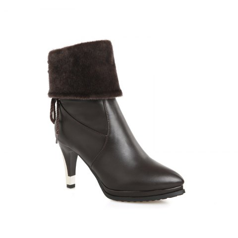 Sharp Pointed High-Heeled Fashion Boots - BROWN 45
