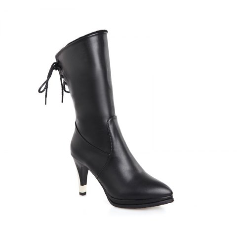 Sharp Pointed High-Heeled Fashion Boots - BLACK 40