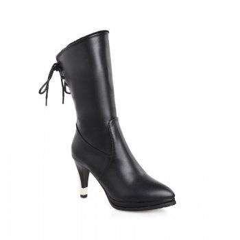 Sharp Pointed High-Heeled Fashion Boots - BLACK BLACK