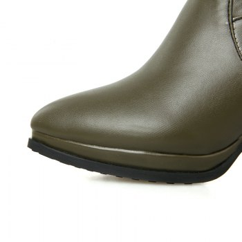 Sharp Pointed High-Heeled Fashion Boots - GREEN GREEN