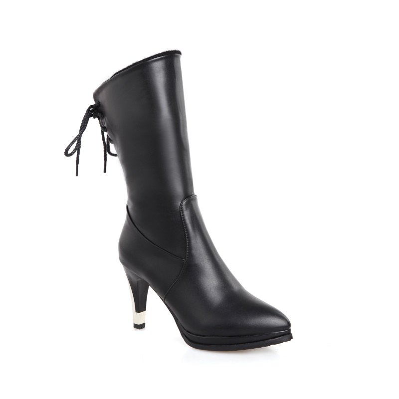 Sharp Pointed High-Heeled Fashion Boots - BLACK 38