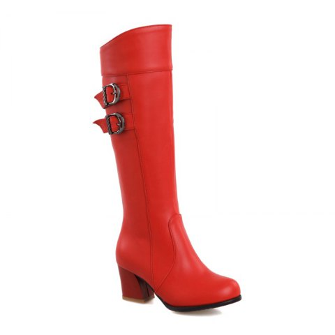 Round Head with Fashion Belt Buckle High Boots - RED 41