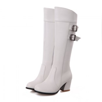 Round Head with Fashion Belt Buckle High Boots - WHITE WHITE