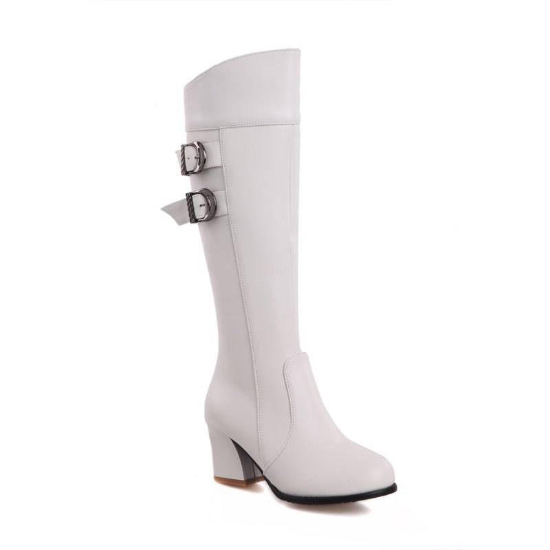 Round Head with Fashion Belt Buckle High Boots - WHITE 32