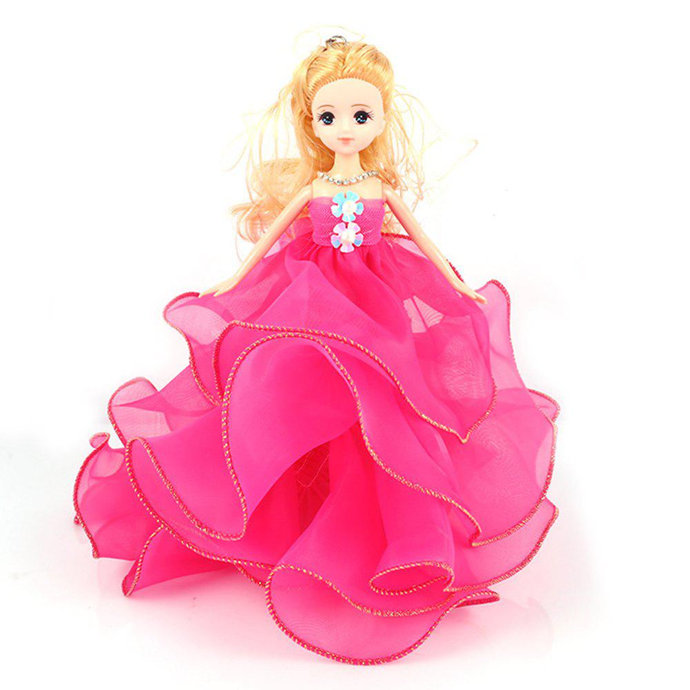 26 Cm Lovely Lace Wedding Dress Gir Doll Toy Pendant - ROSE RED