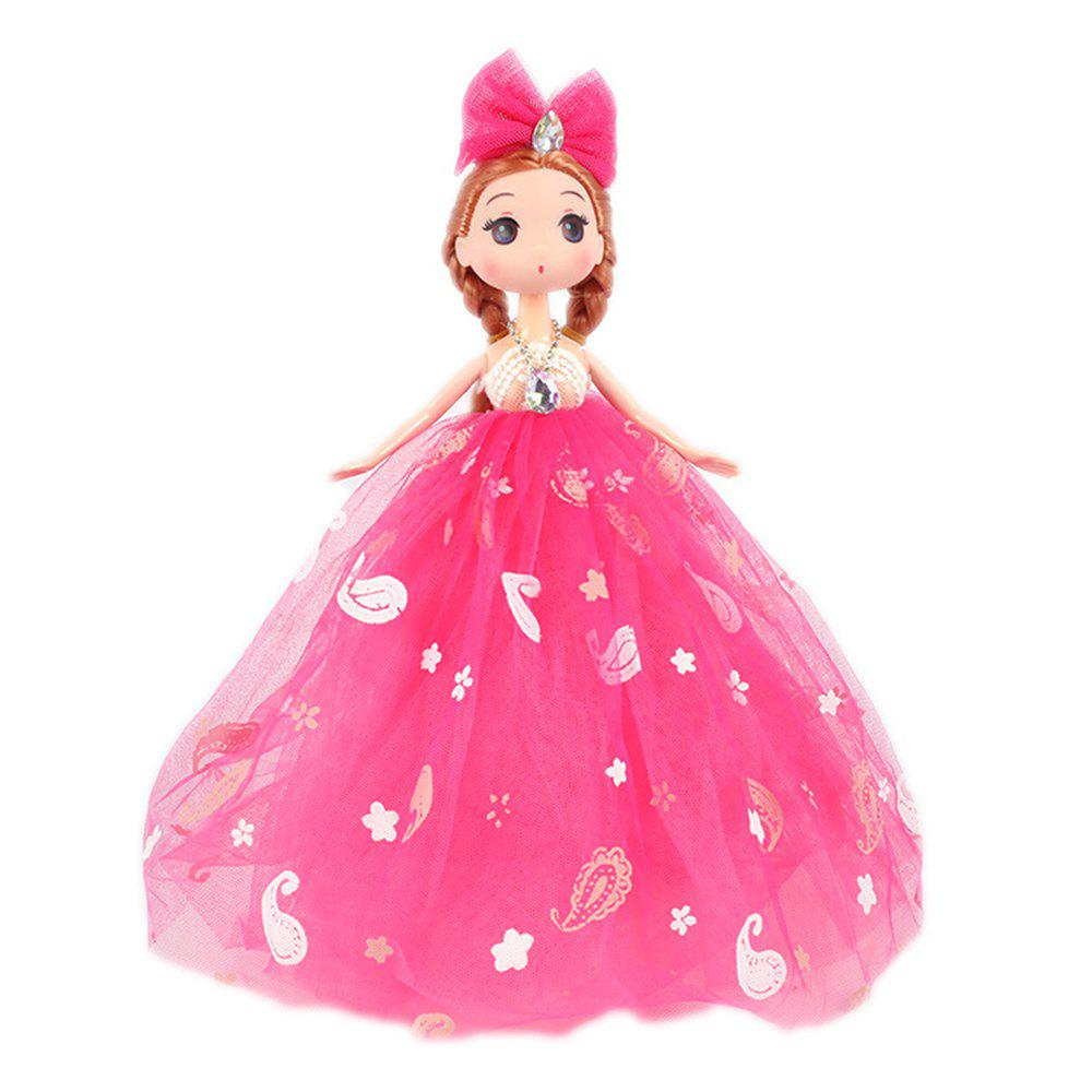 26CM Printed Camouflage Doll Wedding Dress Toy Pendant - ROSE RED