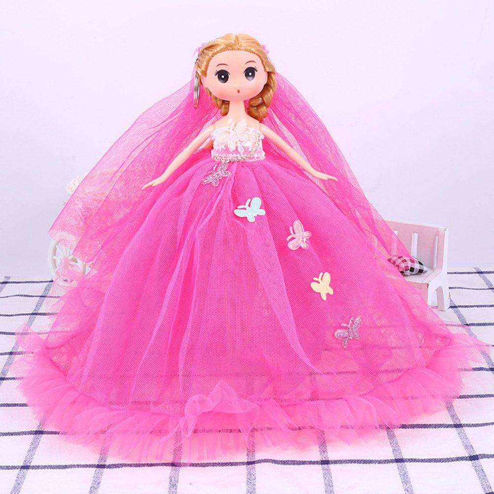 26CM Wedding Dress Lace Doll Toy Pendant - ROSE RED
