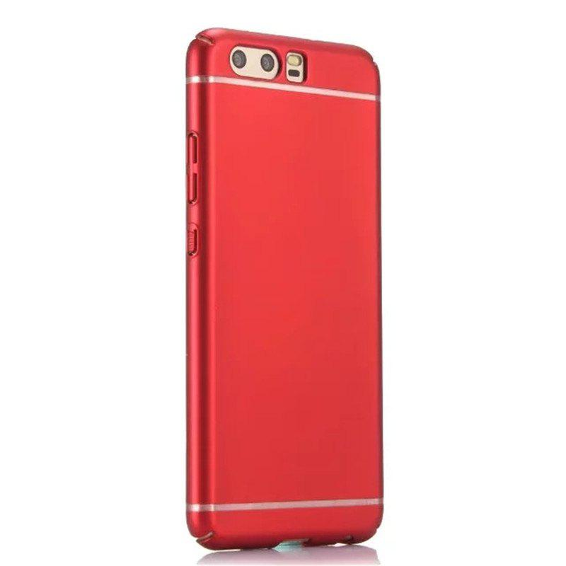 Embossed Back Cover Solid Color Hard PC for Huawei P10 Case - RED
