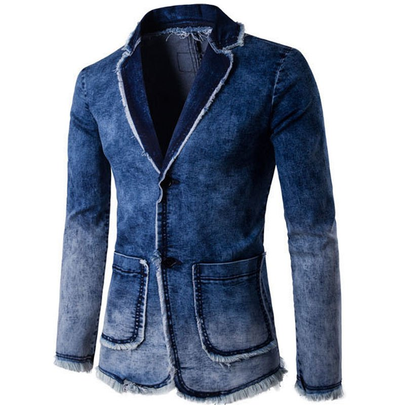 Men  Slim Fit Denim Jacket Suit - BLUE M