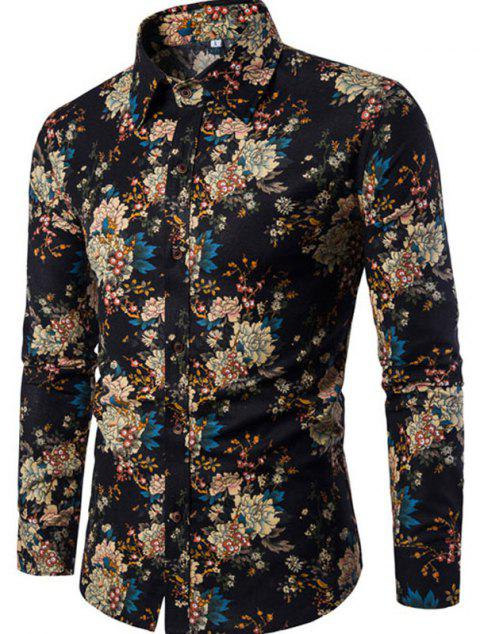 New Arrival Men'S Long Sleeves Printed Shirts Floral Shirts - BLACK M