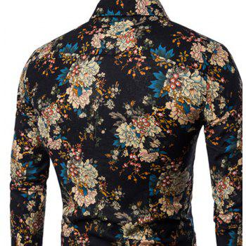 New Arrival Men'S Long Sleeves Printed Shirts Floral Shirts - BLACK 3XL