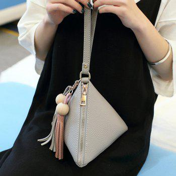 Ladies Casual Litchi Pattern Dumpling Mini Handbag - GRAY