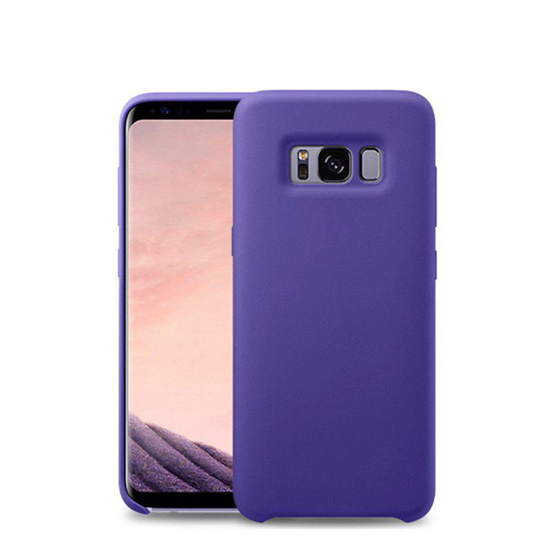 Liquid Silicone Gel Rubber Slim Fit Soft Mobile Phone with Microfiber Cloth Lining Cushion for Samsung Galaxy S8 - PURPLE