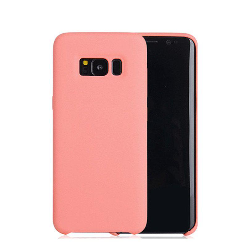 Liquid Silicone Gel Rubber Slim Fit Soft Mobile Phone with Microfiber Cloth Lining Cushion for Samsung Galaxy S8 - PINK