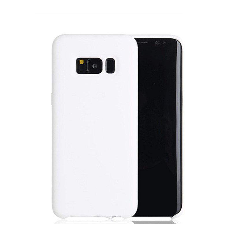 Liquid Silicone Gel Rubber Slim Fit Soft Mobile Phone with Microfiber Cloth Lining Cushion for Samsung Galaxy S8 - WHITE