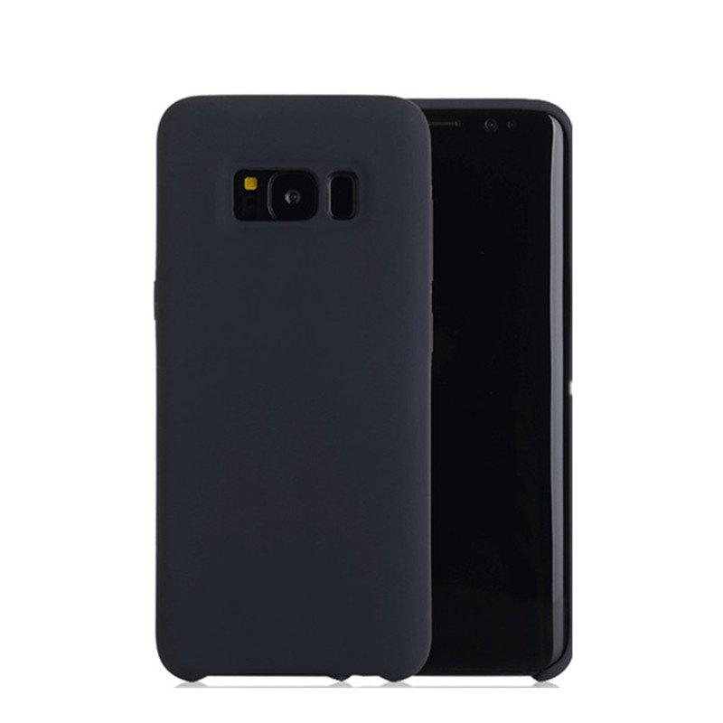Liquid Silicone Gel Rubber Slim Fit Soft Mobile Phone with Microfiber Cloth Lining Cushion for Samsung Galaxy S8 - BLACK