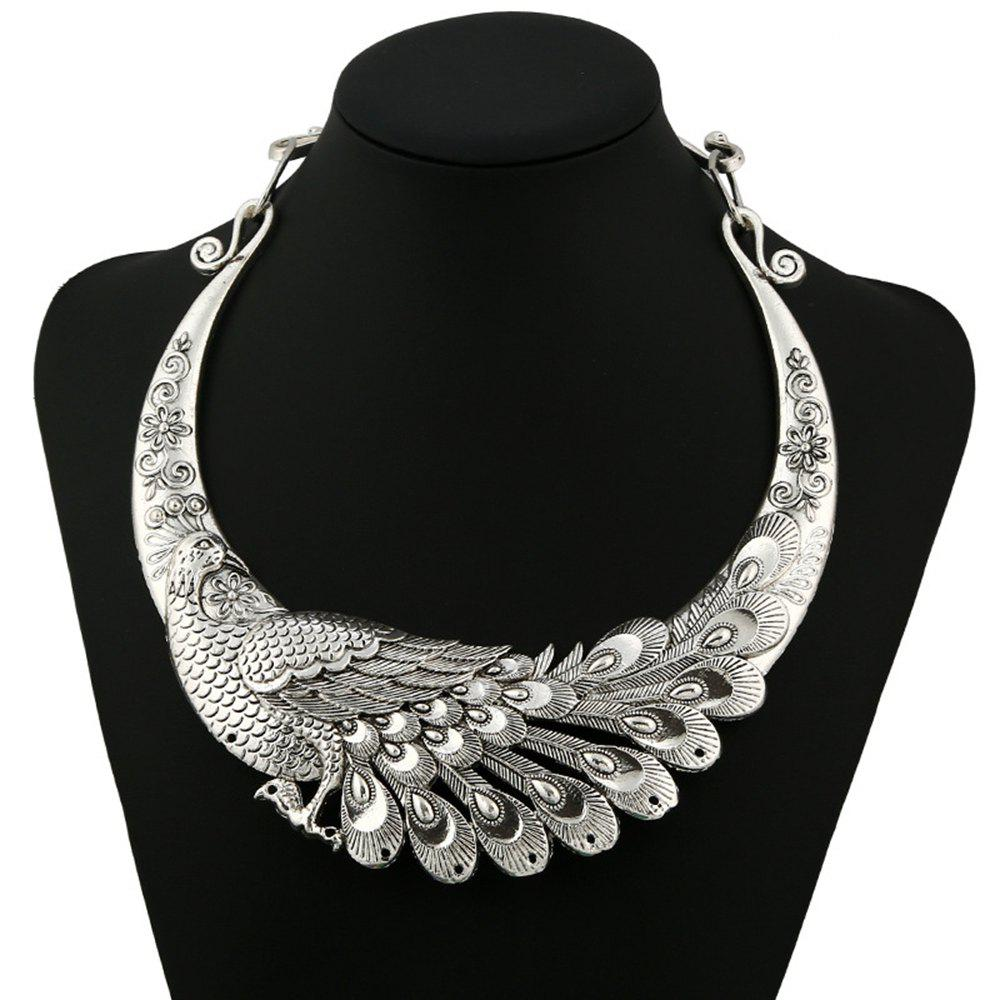 Multi Color Carving Peacock Choker Necklace for Women - SILVER