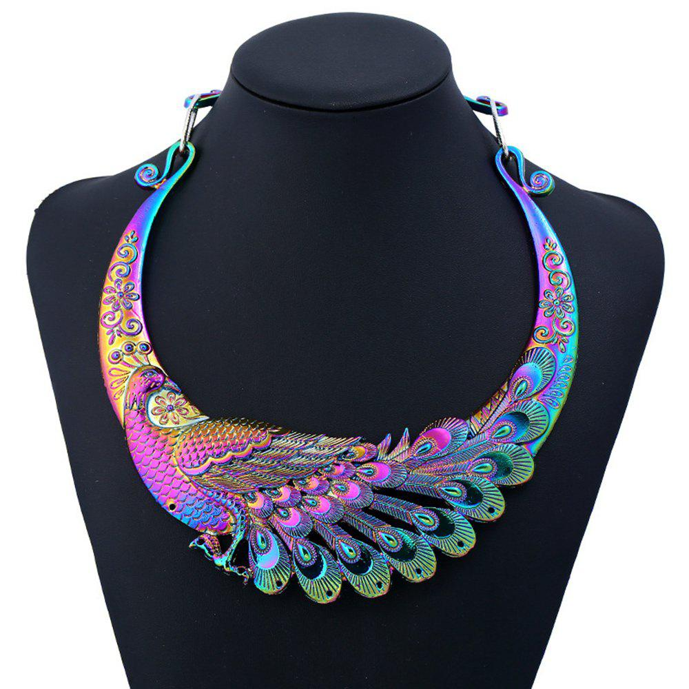 Multi Color Carving Peacock Choker Necklace for Women - COLOR