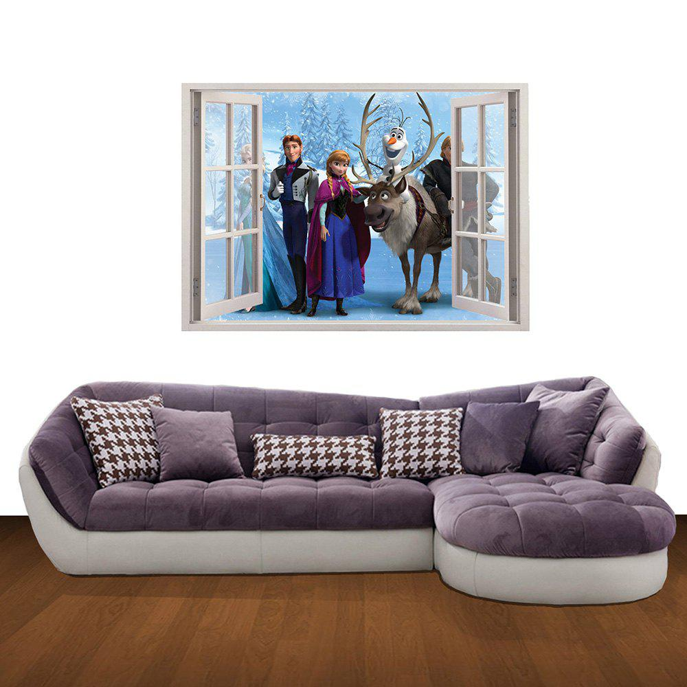 Creative 3D Frozen Fake Window Home Background Wall Stickers