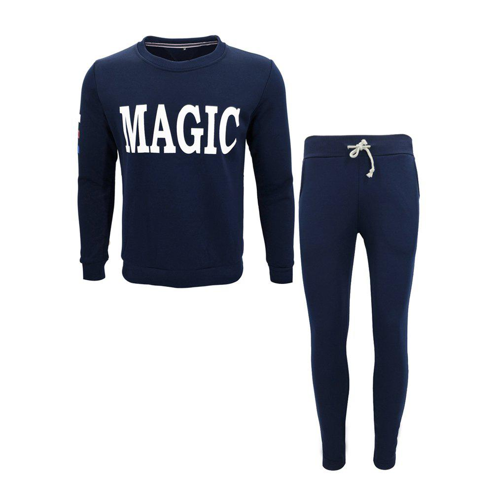 Hommes Automne Sports Running Outdoor Fitness Vêtements Impression Casual Sweatshirt À Manches Longues Costume - Bleu Cadette 3XL