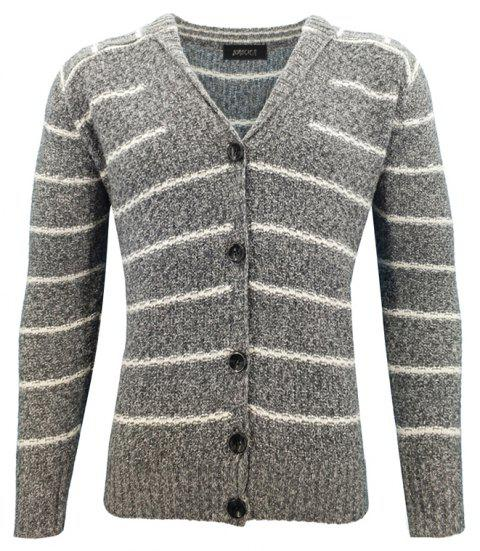 Europe Men 's Fashion Casual revers à rayures Jacquard à manches longues Cardigan Slim chandail - Gris L
