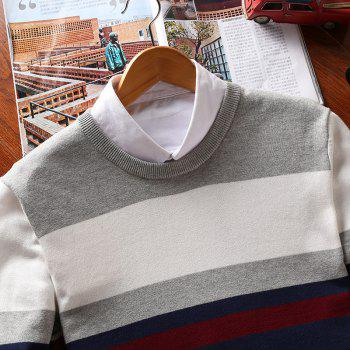 Men'S Round Neck Pullover  Youth Striped - GRAY GRAY