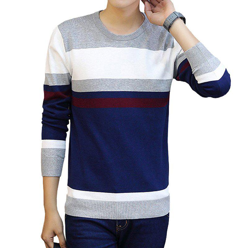 Men'S Round Neck Pullover  Youth Striped - GRAY L