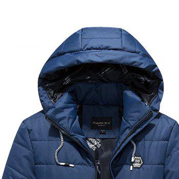 Men Winter Thick Hooded Solid Color Coat - CERULEAN CERULEAN