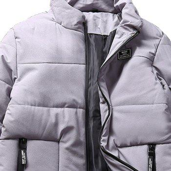 Men'S Winter Collar Solid Color Coat - GRAY GRAY