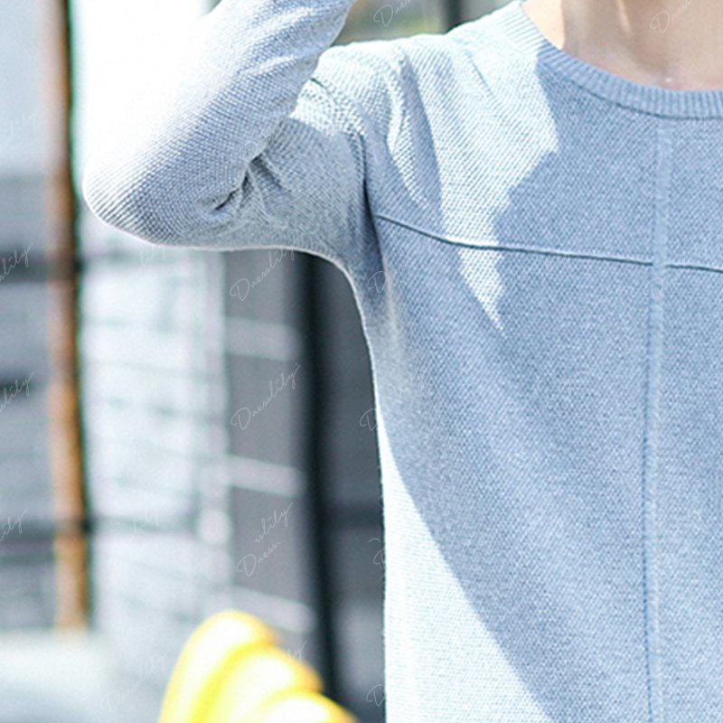 1705 Men'S Round Neck Pullover Youth Solid Color - GRAY L
