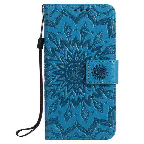 Embossed Sun Flower PU TPU Phone Case for Samsung Galaxy S7 - BLUE