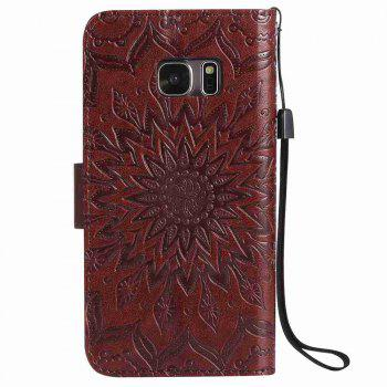 Embossed Sun Flower PU TPU Phone Case for Samsung Galaxy S7 - BROWN