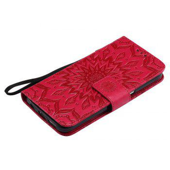 Embossed Sun Flower PU TPU Phone Case for Samsung Galaxy S7 - RED