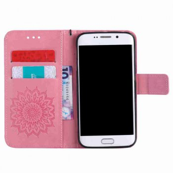 Embossed Sun Flower PU TPU Phone Case for Samsung Galaxy S7 - PINK