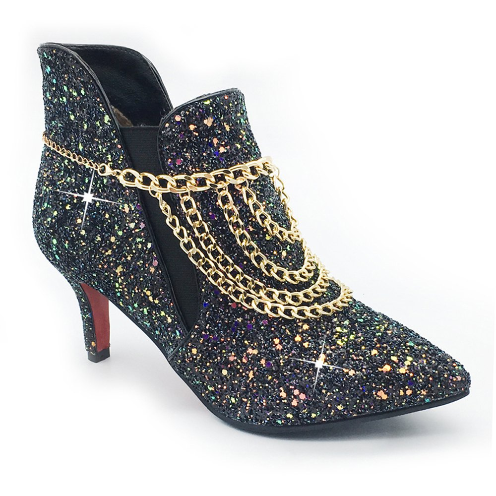 Sexy Pointed Fine Short Boots Chain Sequins Women's Shoes - BLACK 39