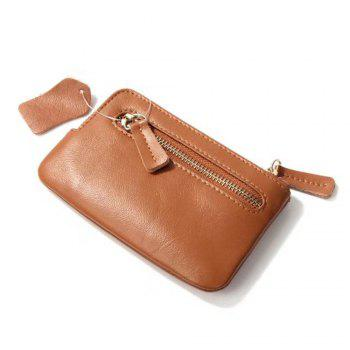 Wkae Genuine Leather Cowhide Wallet Bag for Keys Credit Cards - BROWN