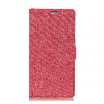 WkaeJeans Cloth Texture Leather Case for Samsung Galaxy A5 2018 - BRIGHT RED