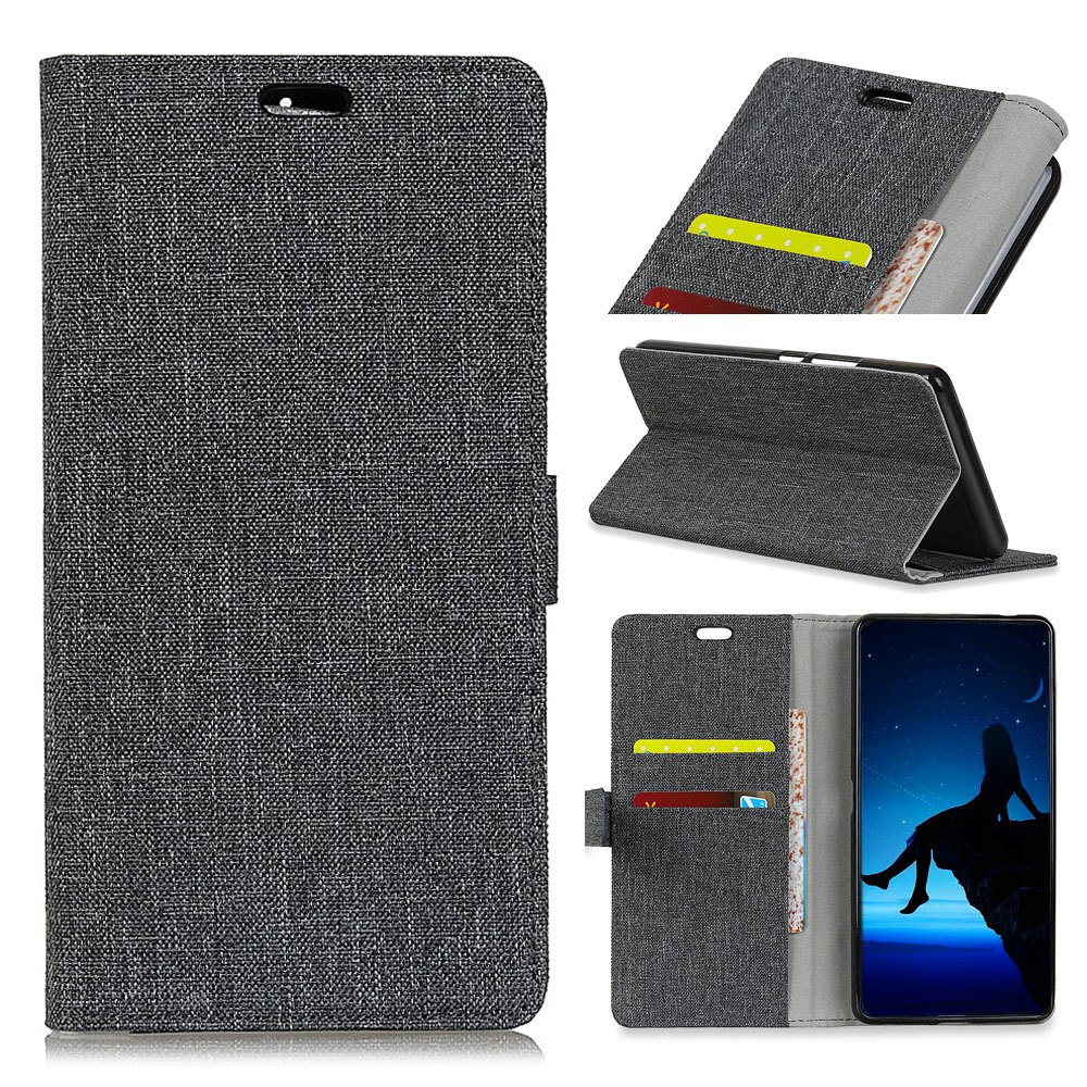 WkaeJeans Cloth Texture Leather Case for Samsung Galaxy A5 2018 - BLACK