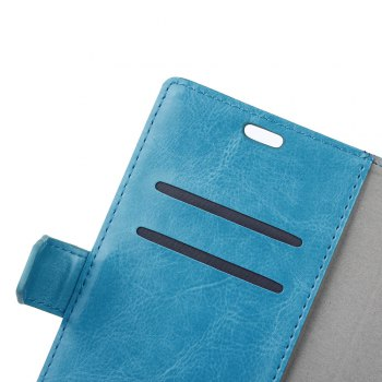 Wkae Crystal Grain Texure Faux Leather Wallet Case for Samsung Galaxy A5 2018 - BLUE